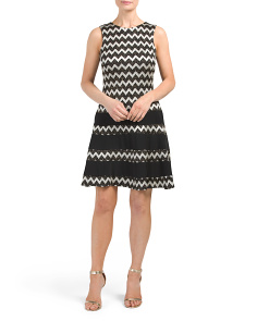 Made In USA Drop Waist Chevron Lace Dress