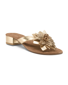 Leather Block Heel Thong Sandals