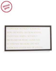 39x19 I Love You Quote Magnet Board
