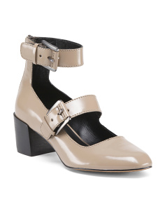 Double Buckle Leather Block Heels