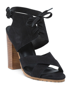 Madi Lace Up Suede Heel Sandals