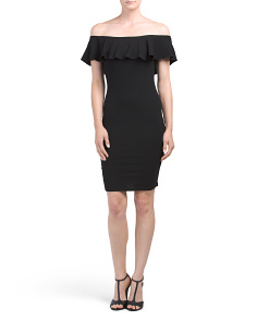 Juniors Cold Shoulder Popover Dress