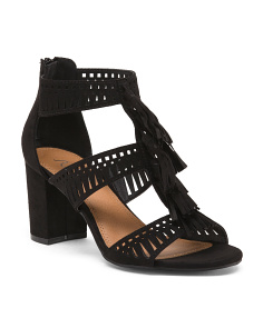 Fringe Block Heel Sandals