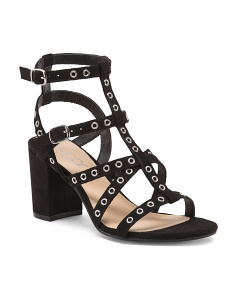 Grommet Block Heel Sandals