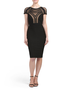 Cap Sleeve Laser Cut Dress