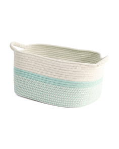 Medium Colorblock Twist Rope Tote Bin