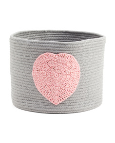 Large Heart Rope Storage Bin