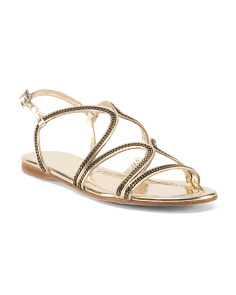 Made In Spain Mirro Leather Flat Sandals