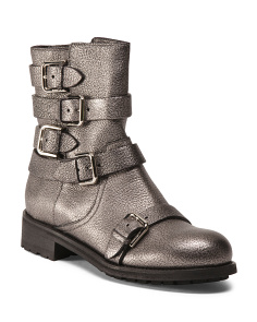 Made In Italy Buckled Leather Booties