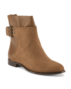Made In Italy Buckled Suede Booties