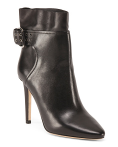 Made In Italy Leather Booties With Side Buckle