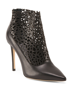 Made In Italy Leather Laser Perforated Booties