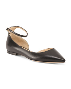 Made In Italy Ankle Strap Leather Flats