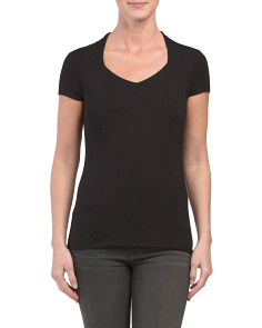 Cap Sleeve Jersey V Neck Top