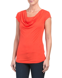Cap Sleeve Draped Neck Top