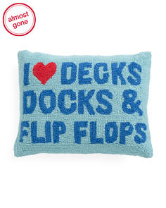 14x18 I Heart Decks Docks & Flip Flops Hook Pillow