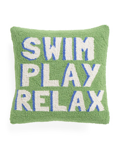 16x16 Swim Play Relax Hook Pillow