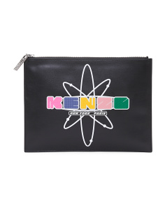 Logo Printed Leather Pouch
