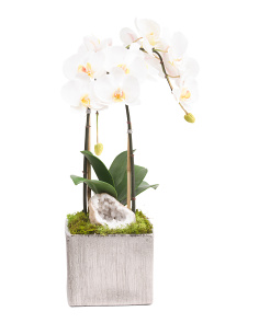 Double Faux Orchid And Quartz Arrangement