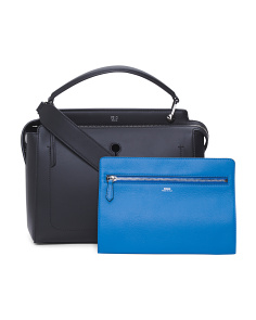 Made In Italy Dot Com Leather Satchel