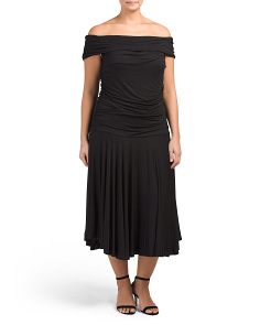 Plus Made In USA Off The Shoulder Dress With Flared Skirt