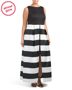 Plus Striped Ball Gown