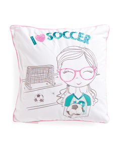 Kids 18x18 I Love Soccer Pillow