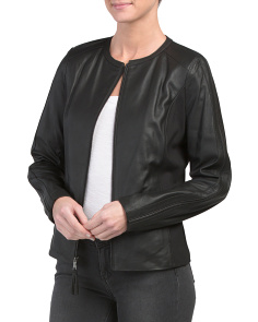Collarless Leather Jacket With Exposed Zipper