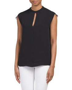 Silk Cap Sleeve Blouse With Nehru Collar