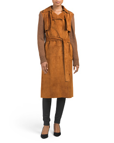 Made In Italy Suede Knit Sleeve Trench Coat