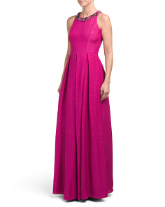 Silk Sleeveless Gown With Jeweled Collar