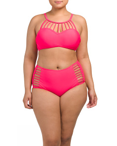 Plus Halter Rope Neon Bandeau Two-piece Swimsuit