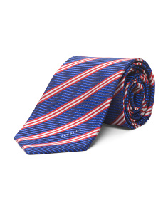 Made In Italy Dot Stripes Silk Tie