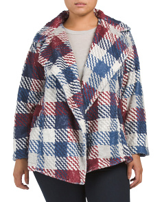 Plus Plaid Faux Fur Jacket