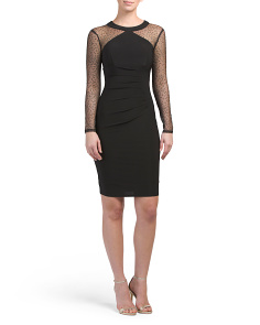 Mesh Long Sleeve Cocktail Dress