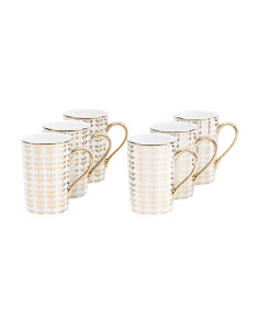 6pk Metallic Tropical Vine Mug Set