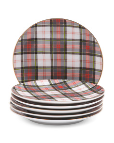 6pc Christmas Plaid Plates
