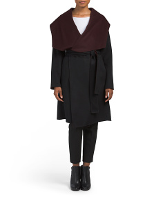 Two Tone Double Face Wool Wrap Coat