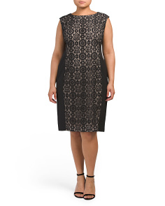 Plus Cathedral Lace Sheath Dress