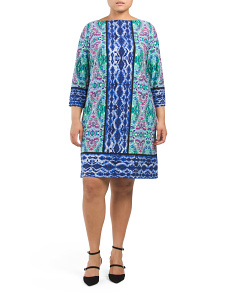 Plus Ikat Medallion Printed Shift Dress