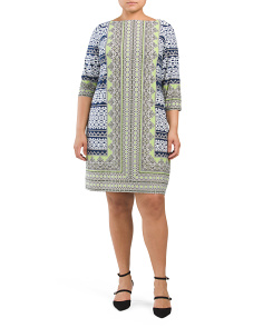 Plus Printed Shift Dress