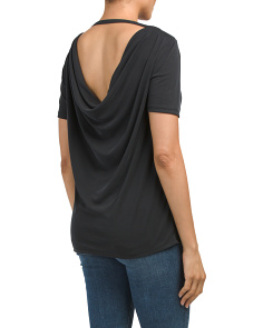 Made In USA Ribbed Drape Back Tee