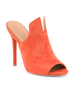Notched Suede Peep Toe Mules