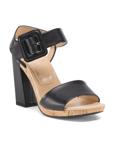 Made In Italy Leather Block Heel Sandals