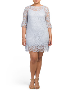 Plus Lace Dress With Ruffled Hem