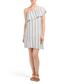 Juniors Challis One Shoulder Dress