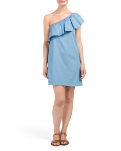 Juniors Chambray One Shoulder Dress