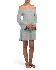 Juniors Ribbed Off The Shoulder Dress