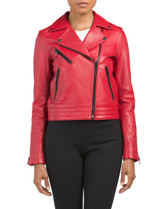 Zip Front Leather Moto Jacket