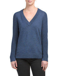 Long Sleeve Ribbed Trim Wool Sweater